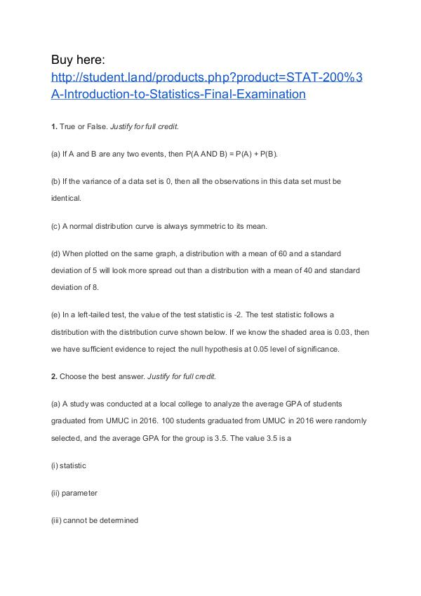 STAT 200: Introduction to Statistics Final Examination STAT 200