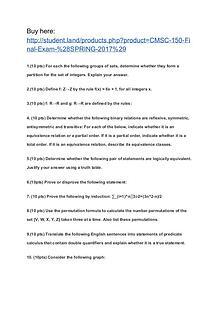 CMSC 150 Final Exam (SPRING 2017)