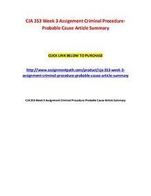 CJA 353 Week 3 Assignment Criminal Procedure
