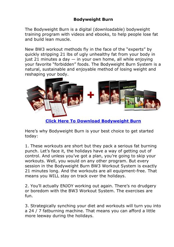 Body Weight Burn EBook PDF Free Download Adam Steer Body Weight Burn Program