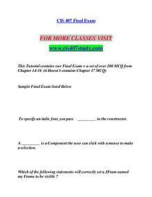 CIS 407 STUDY Education is Power/cis407study.com
