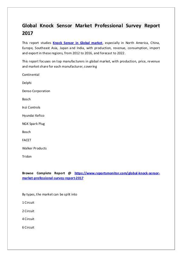 Knock Sensor Market Research Report