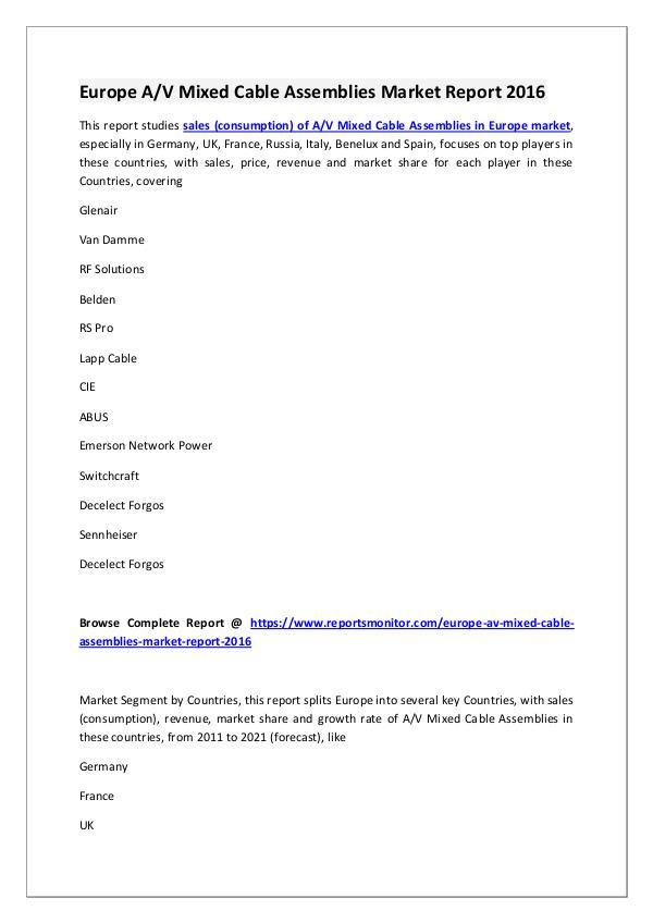 AV Mixed Cable Assemblies Market Research Report