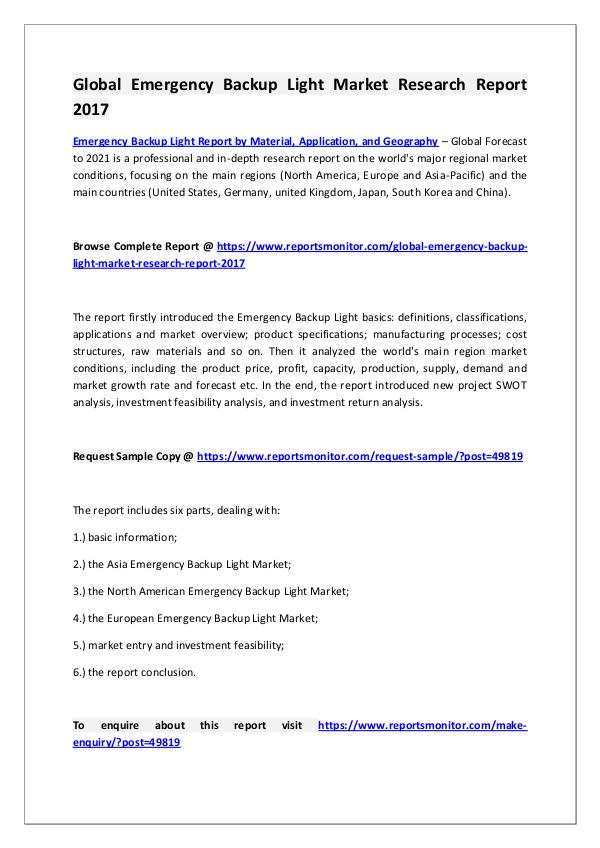 Emergency Backup Light Market Research Report