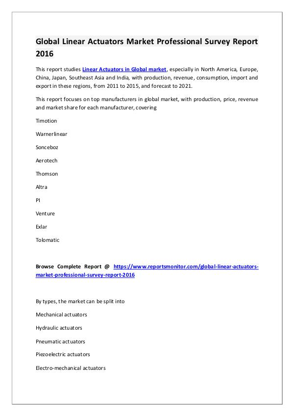 Linear Actuators Market Research Report