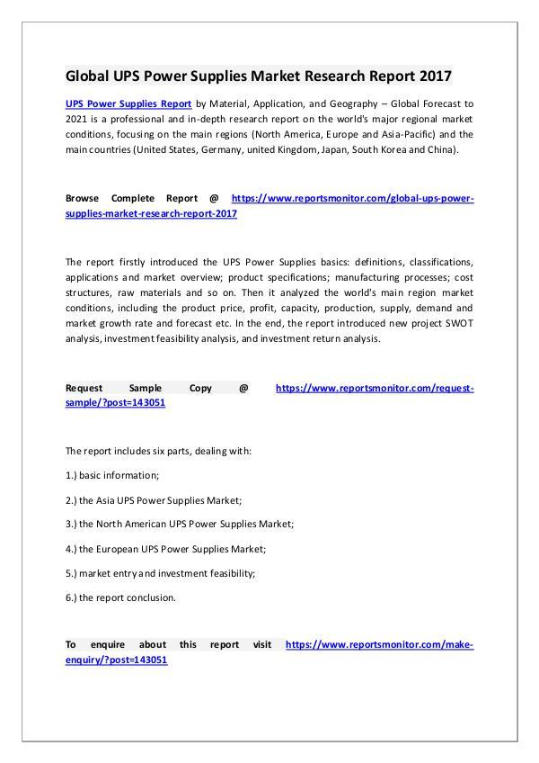 UPS Power Supplies Market Research Report
