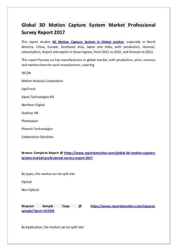 3D Motion Capture System Market Research Report