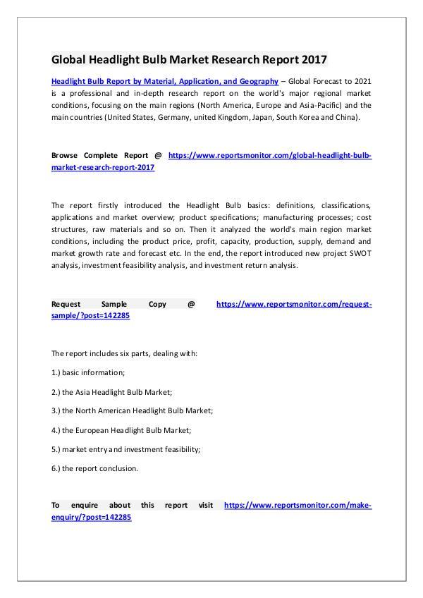Headlight Bulb Market Research Report