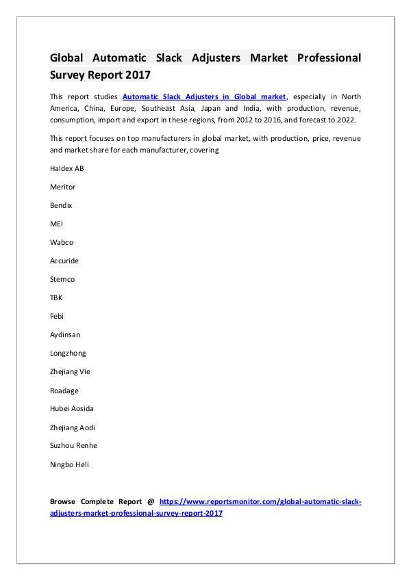 Automatic Slack Adjusters Market Research Report