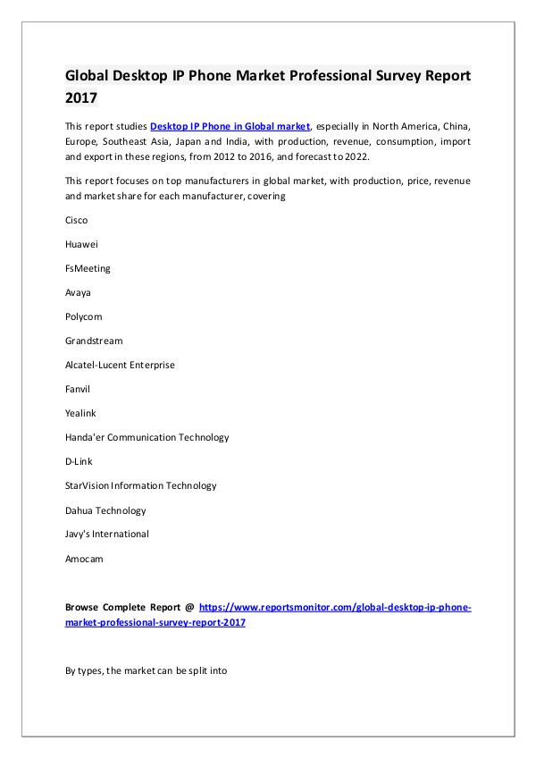 Desktop IP Phone Market Survey Research