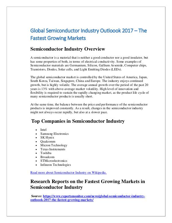 Global Semiconductor Analysis Outloook 2017
