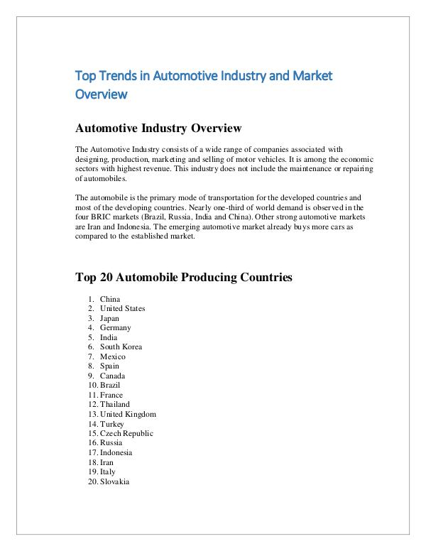 Trends in Automotive Industry and Market Overview
