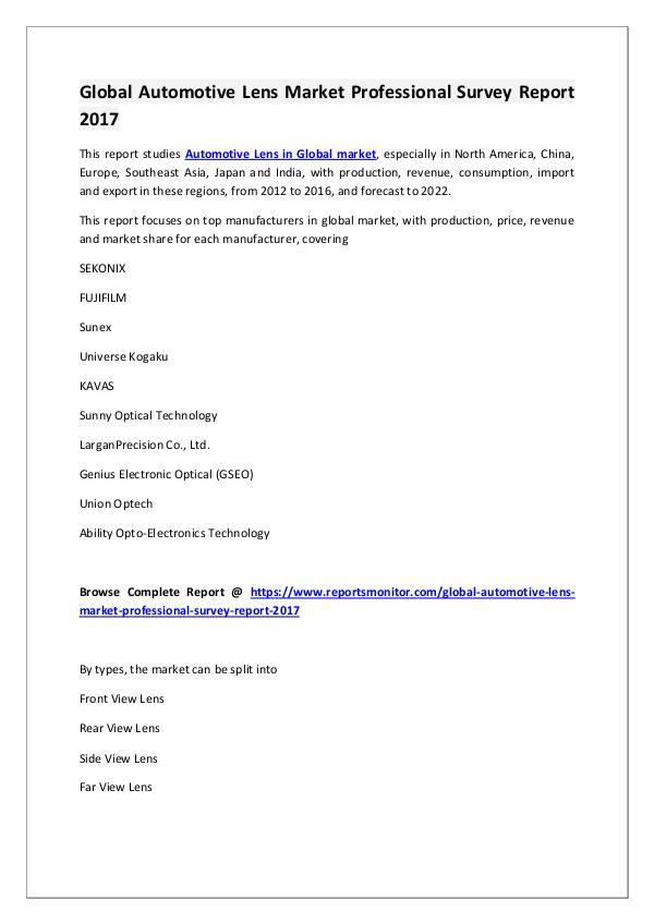 Global Automotive Lens Market Research Report