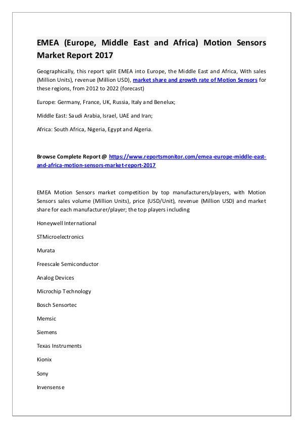 Europe Motion Sensors Market Research Report