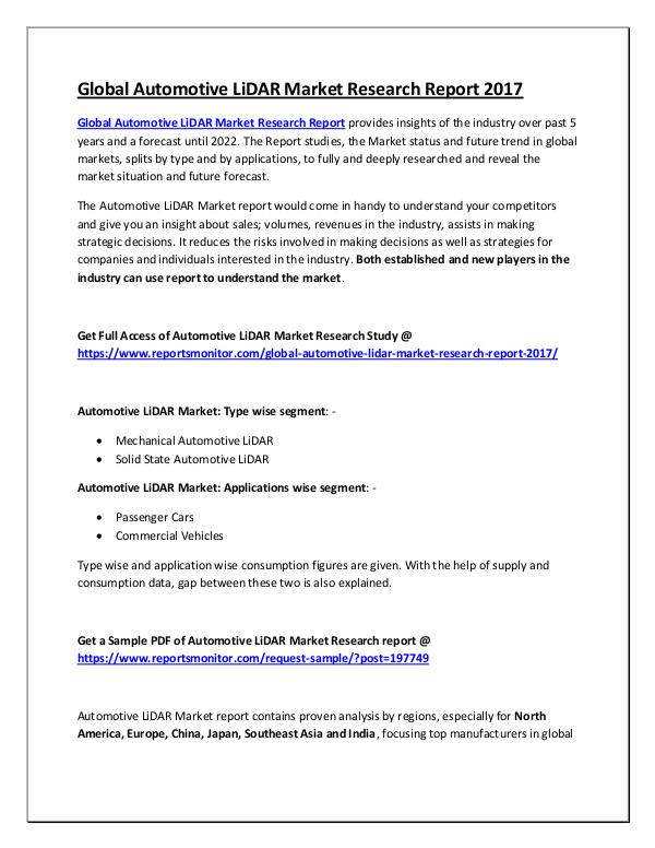 Global Automotive LiDAR Market Research Report