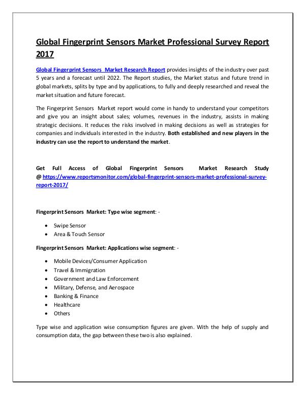 Fingerprint Sensors Market Research Report