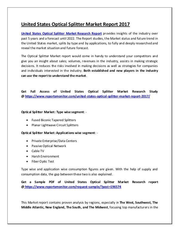 United States Optical Splitter Market Report