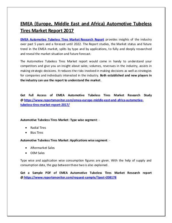 EMEA Automotive Tubeless Tires Market Report