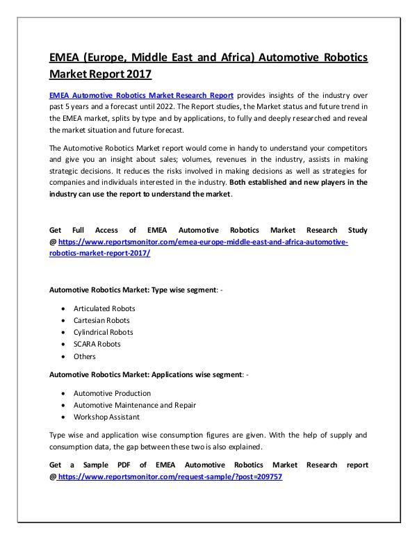 Automotive Robotics Market Research Report