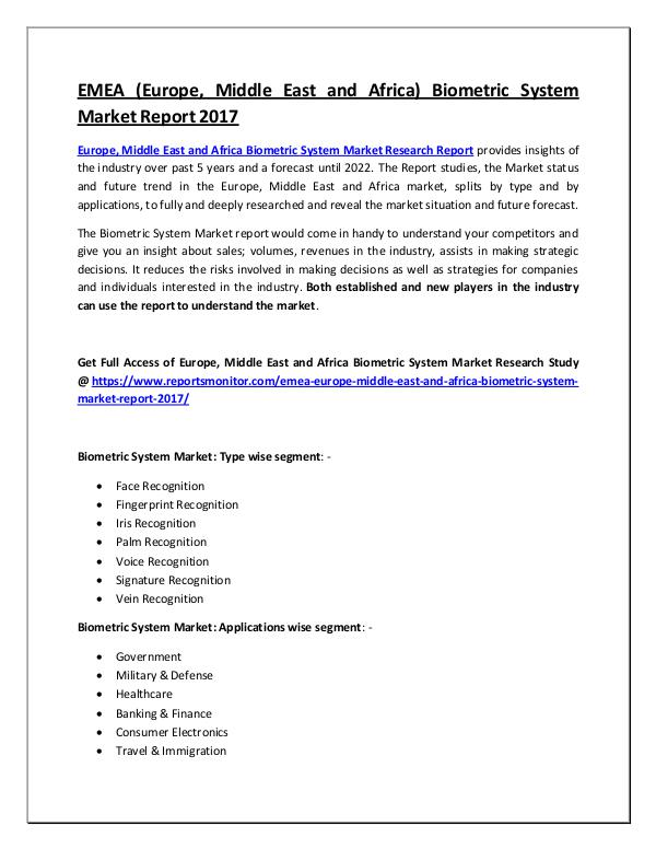 Biometric System Market Research Report