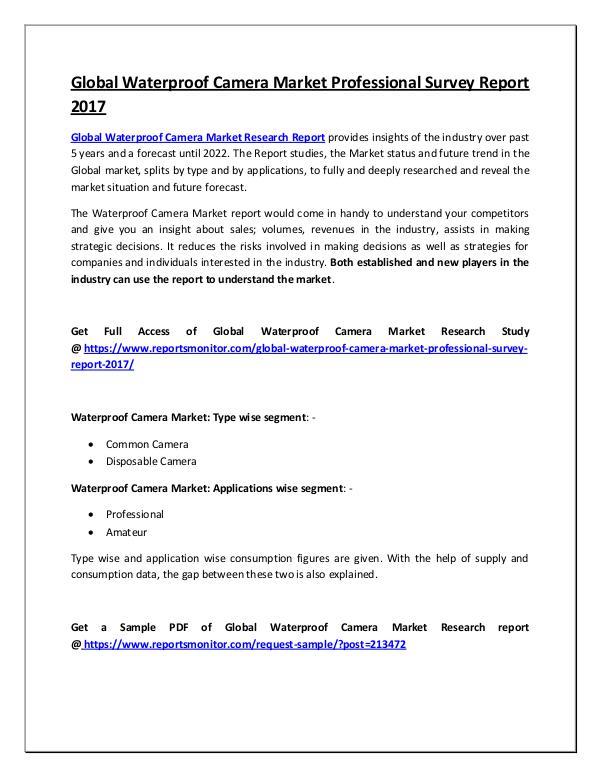 Global Waterproof Camera Market Research Report