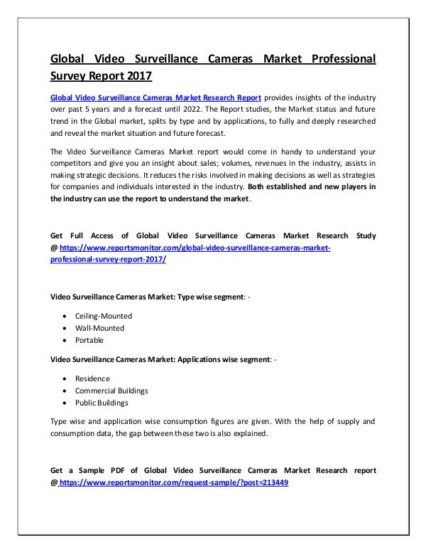 Global Video Surveillance Cameras Market Report