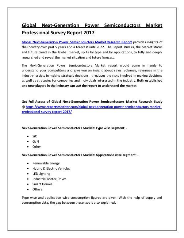 Next-Generation Power Semiconductors Market Report