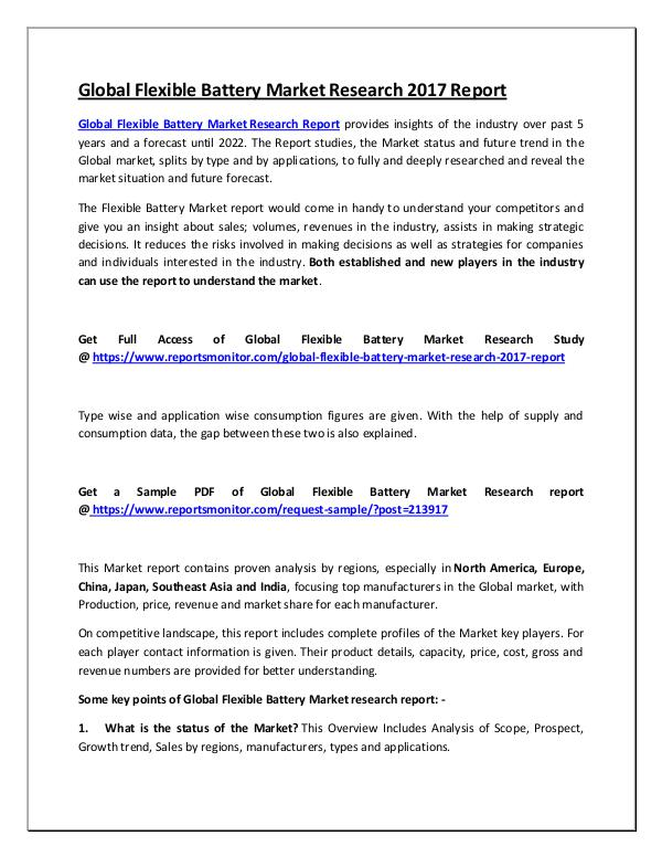Global Flexible Battery Market Research Report