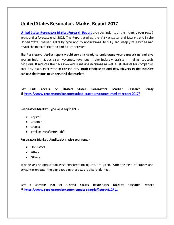 United States Resonators Market Research Report