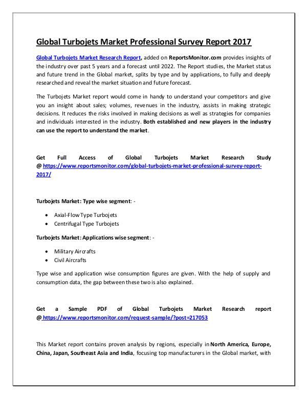 Global Turbojets Market Professional Survey Report