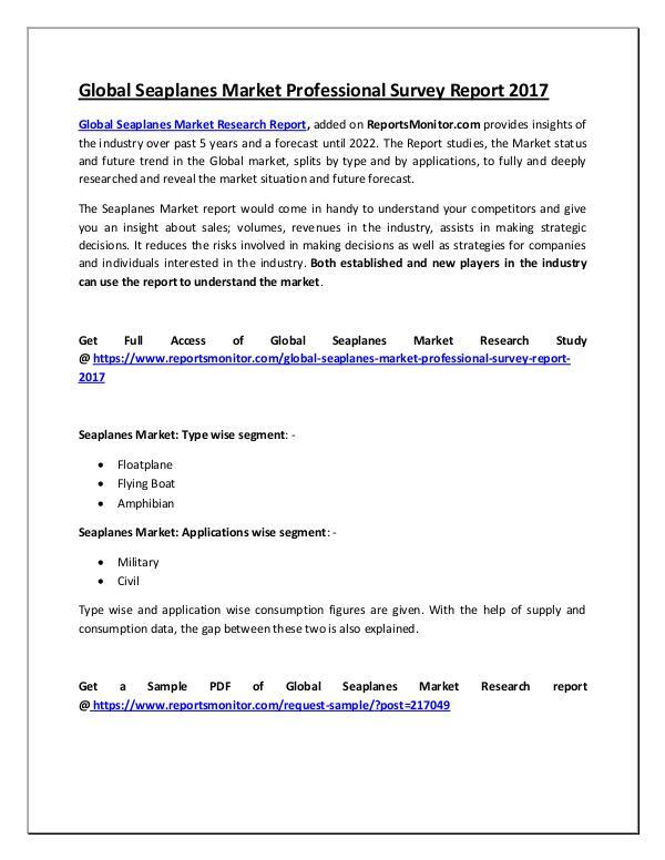 Global Seaplanes Market Professional Survey Report