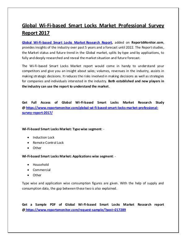 Global Wi-Fi-based Smart Locks Market Report