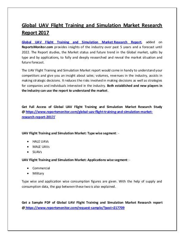 UAV Flight Training and Simulation Market Report