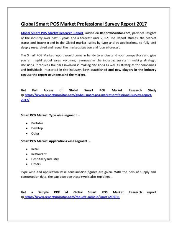 Global Smart POS Market Professional Survey Report