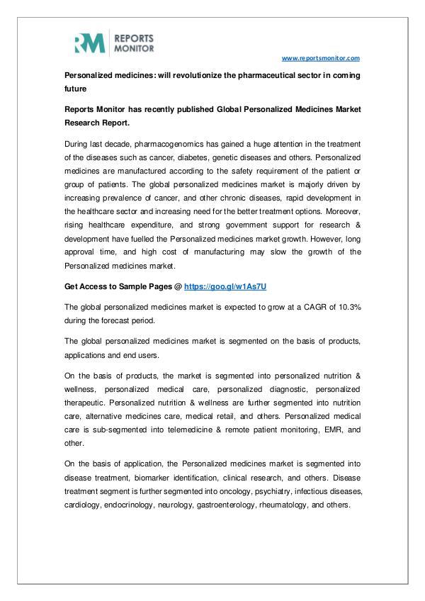 Global Personalized Medicines Market Segmentation