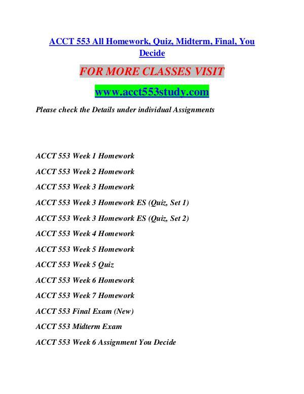 ACCT 553 STUDY Invent Yourself/acct553study.com ACCT 553 STUDY Invent Yourself/acct553study.com