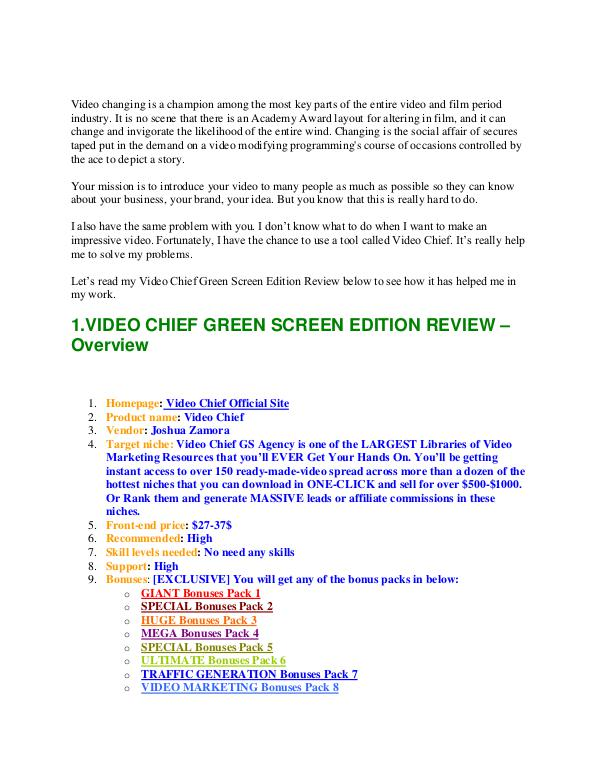 VIDEO CHIEF GREEN SCREEN REVIEW   William Review   Joomag Video Chief Green Screen Review - WilliamReview