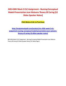 NRS 430V Week 3 CLC Assignment - Nursing Conceptual Model Presentatio