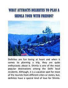 What Attracts Delhiites to Plan a Shimla Tour with Friends?