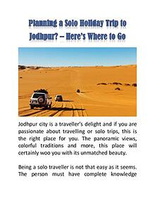Planning a Solo Holiday Trip to Jodhpur? – Here's Where to Go