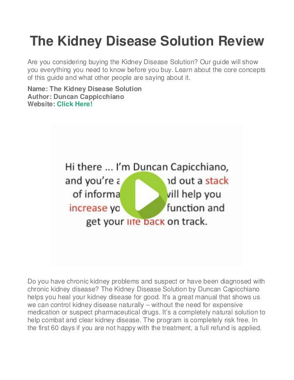 Kidney Disease Solution PDF / Ebook : Is Duncan Cappicchiano's Book Free Download?
