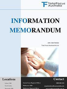 Total Focus Australia Information Memorandum