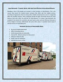 Lopa Removals –Trusted, Quick, Safe And Cost-Effective International