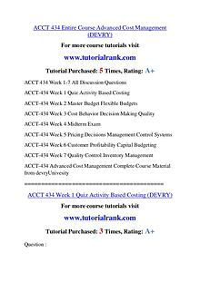 ACCT 434 Experience Tradition / tutorialrank.com