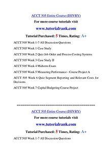 ACCT 505 Experience Tradition / tutorialrank.com