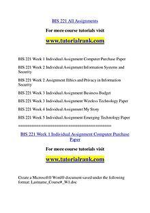 BIS 221 Experience Tradition / tutorialrank.com