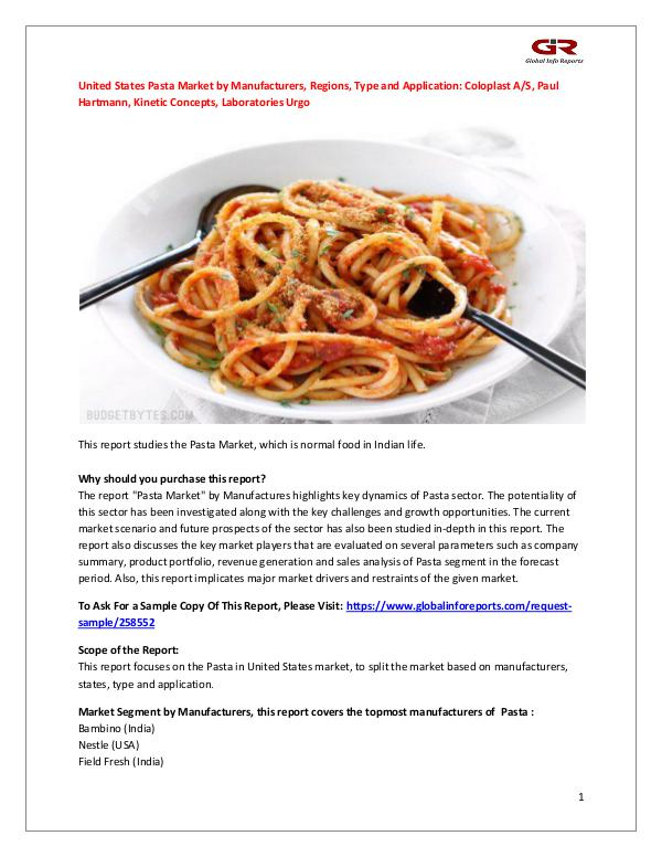 Globalinforeports United States Pasta Market by Manufacturers