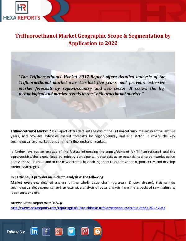 Trifluoroethanol Market Geographic Scope by 2022