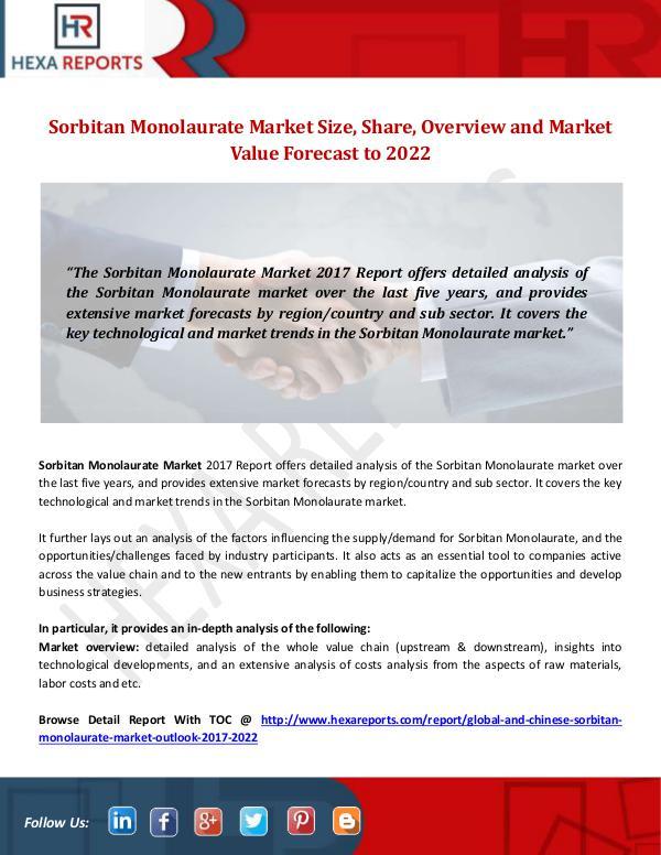 Sorbitan Monolaurate Market Size, Share by 2022