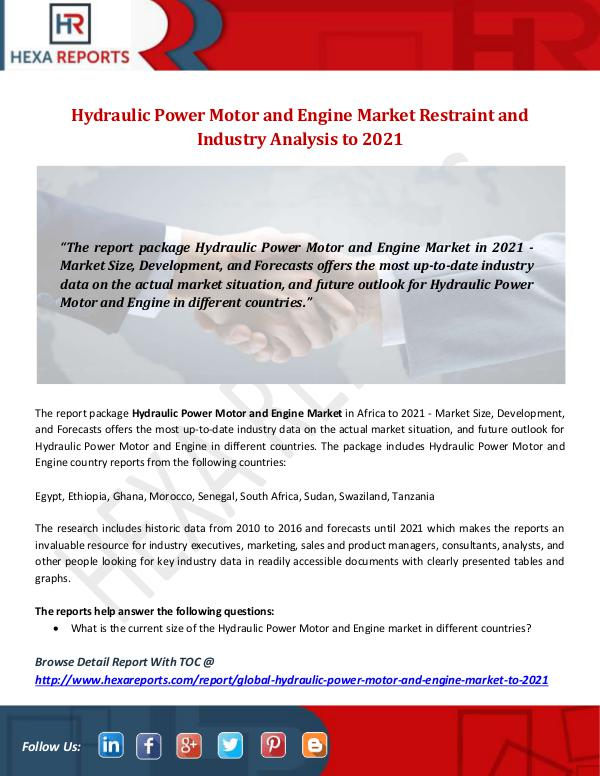 Hexa Reports Industry Hydraulic Power Motor and Engine Market